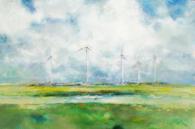 Windfarm watercolor pastel
