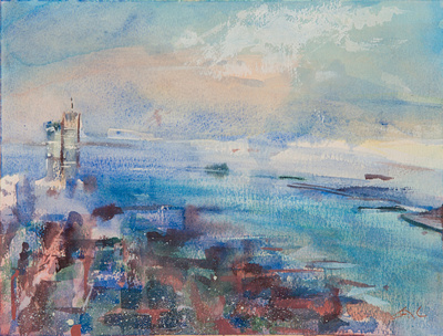 painted from  the first two paintings are painted from the top of the world trade towers in a series of work on location 1982