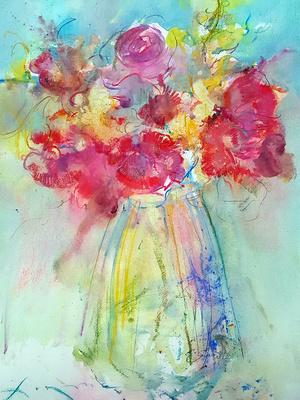 """original watercolor painting 22""""30'rose Vertical"""