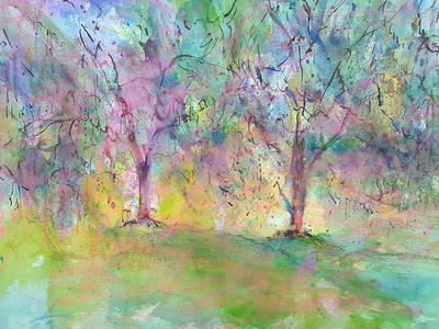 weeping willows watercolor 2,000