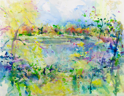 """original watercolor lily lake noyes museum available mixed media 34""""x28"""" $900."""