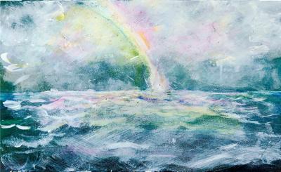 Rainbow into sea  watercolor 22x30