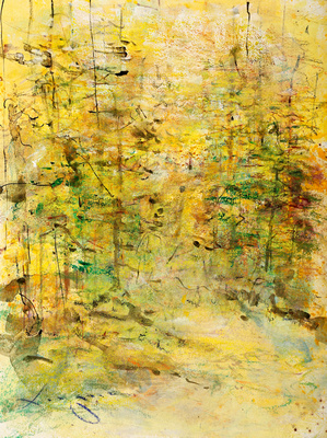 "Nature Path Summer original watercolor painting smoky mountain park 26X30"""
