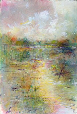 """Mullica river sunset watercolor original watercolor 22x30"""" 1,200"""