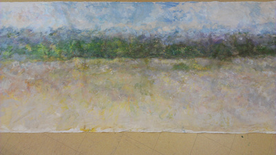 """Adirondack panorame 20ft x6"""" oil September Octstory about long panoramaspainted on location in the Adirondack mountains the 24' one over a 8 year period on lodge rd during a number of painting trips.i"""