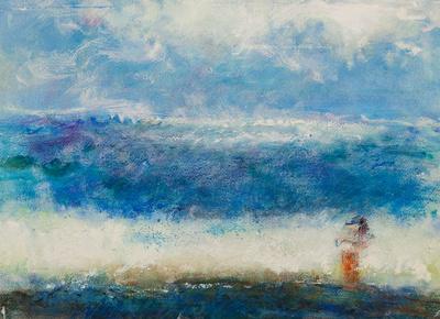"Child & Sea original pastel watercolor $2,000      mixed media 34""x28"" $900."