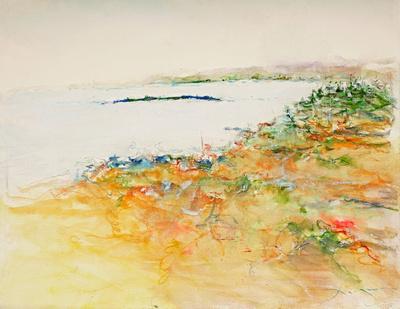 """maine coast acadia park painting 2,000 available mixed media 34""""x28"""" $900."""