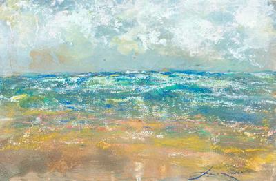 "NJshore winter in ventnor original watercolor pastel on location $1,000 24 ""14"""