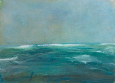 ocean blue oil painting seascapeoriginal pastel watercolor $2,000