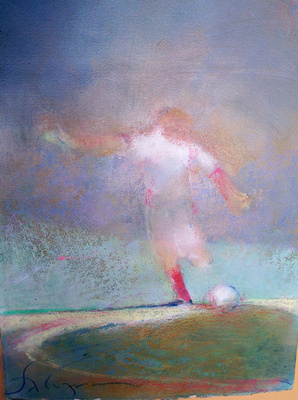 "soccer kick,soccer,world cup soccer, illustrations Kick magazine original watercolor painting 22""30'"
