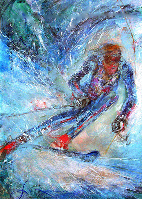 "Olympics winter skier Phil Mahre original watercolor painting 22""30'"