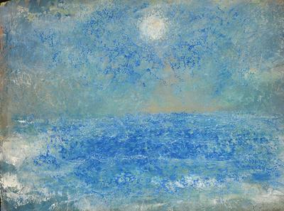 moon and seaoriginal pastel watercolor $2,000