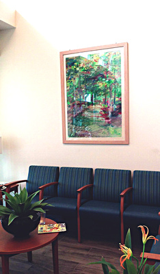 lobby Carrier clinic skillman NJ collection of over sized original sports art designed for  the Carrier clinic