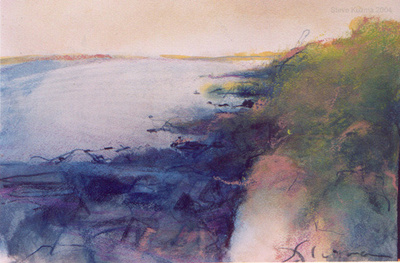 "bar harbor Maine coast watercolor 18""12"""