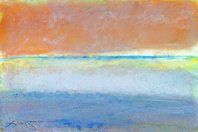 "summers last wave original pastel watercolor $2,000  available mixed media 34""x28"" $900."