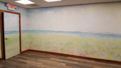 enlightened solutions mural and building interior.yoga roomthis room is meant to bring expanse and warmth with its 360 bowl like approach to the mural .This  is a yoga room for recovering addicts so c