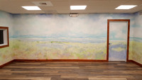enlightened solutions mural and building interior yoga roomthis room is meant to bring expanse and warmth with its 360 bowl like approach to the mural .This  is a yoga room for recovering addicts so c