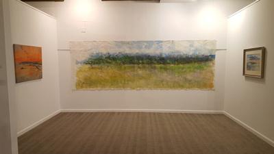 Claridge exhibition Adirondack meadow panorama 20ft x 6ft mixed media on canvas 10,000 original