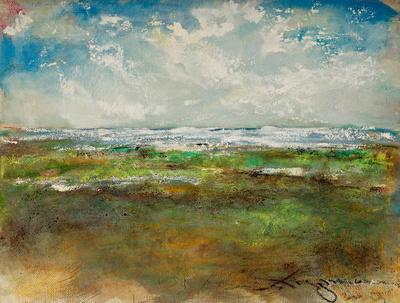 """Wetlands Watercolor Pastel NJ Shoreoriginal pastel watercolor $1,000   available mixed media 34""""x28"""" $900."""