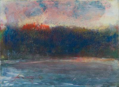 "rainbow sunset original watercolor 22x30"" 1,200"