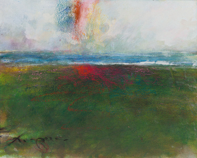 wetland rainbow original painting $1,100