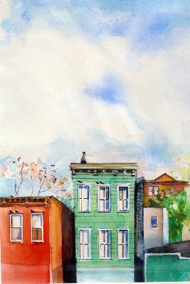 "NY Brooklyn original watercolor 17x14"""