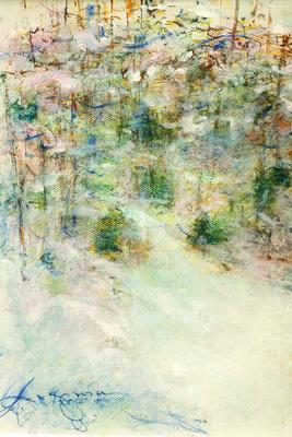 """winter snow original watercolor 22x30"""" 1,200"""