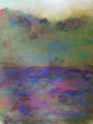 """blue mountain lake Adirondack museum September Oct 2016 oil pastel 22""""'x26''"""
