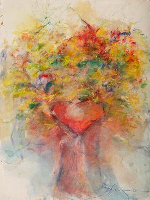 """original watercolor painting 22""""30' Heart Vase, #1"""