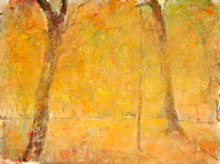 "Autumn Park original watercolor pastel 22""x30"" available mixed media 34""x28"" $900."
