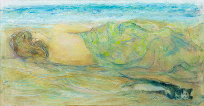 "figure by the sea original watercolor painting 32""350'"