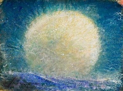 Moon Rising  original pastel watercolor $1,800