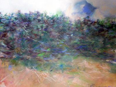 "original watercolor pastel 22""x30"" forest  edge $1,800"