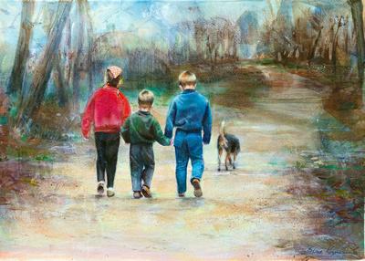 walk in the park watercolor 22x30 original print 300.