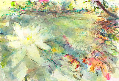 "blossom dreaminal watercolor 1,800 22'x30""  available mixed media 34""x28"" $900."