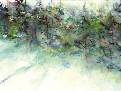 "sun and pineswinter trees painting original watercolor painting 22""30'"