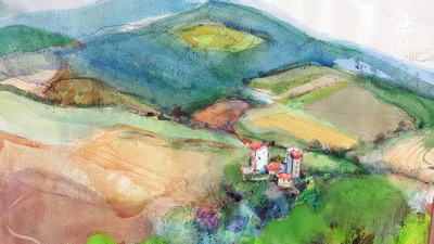"original watercolor painted on location Italy 20""28"" tuscany 1,100"