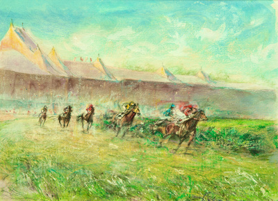 "Saratoga original watercolor painting 22""30' 1,100"