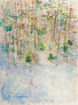 original waterbased painting pastel Winter Forest