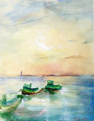 """original watercolor painting 22""""18'ny  tugboats 2"""