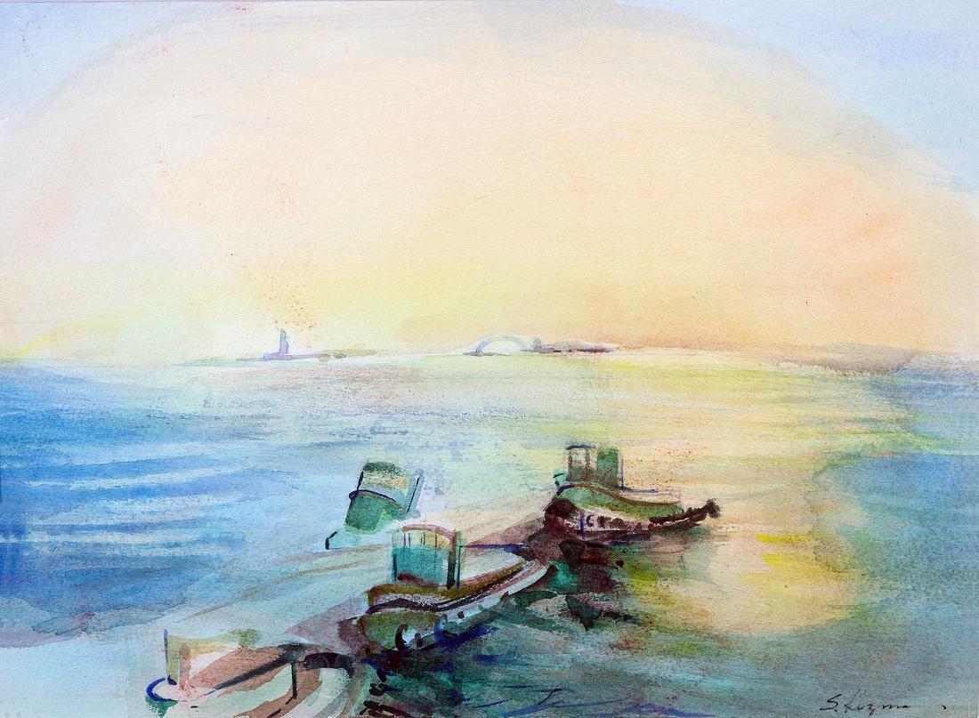 """ny tugboats original watercolor painting 22""""18"""