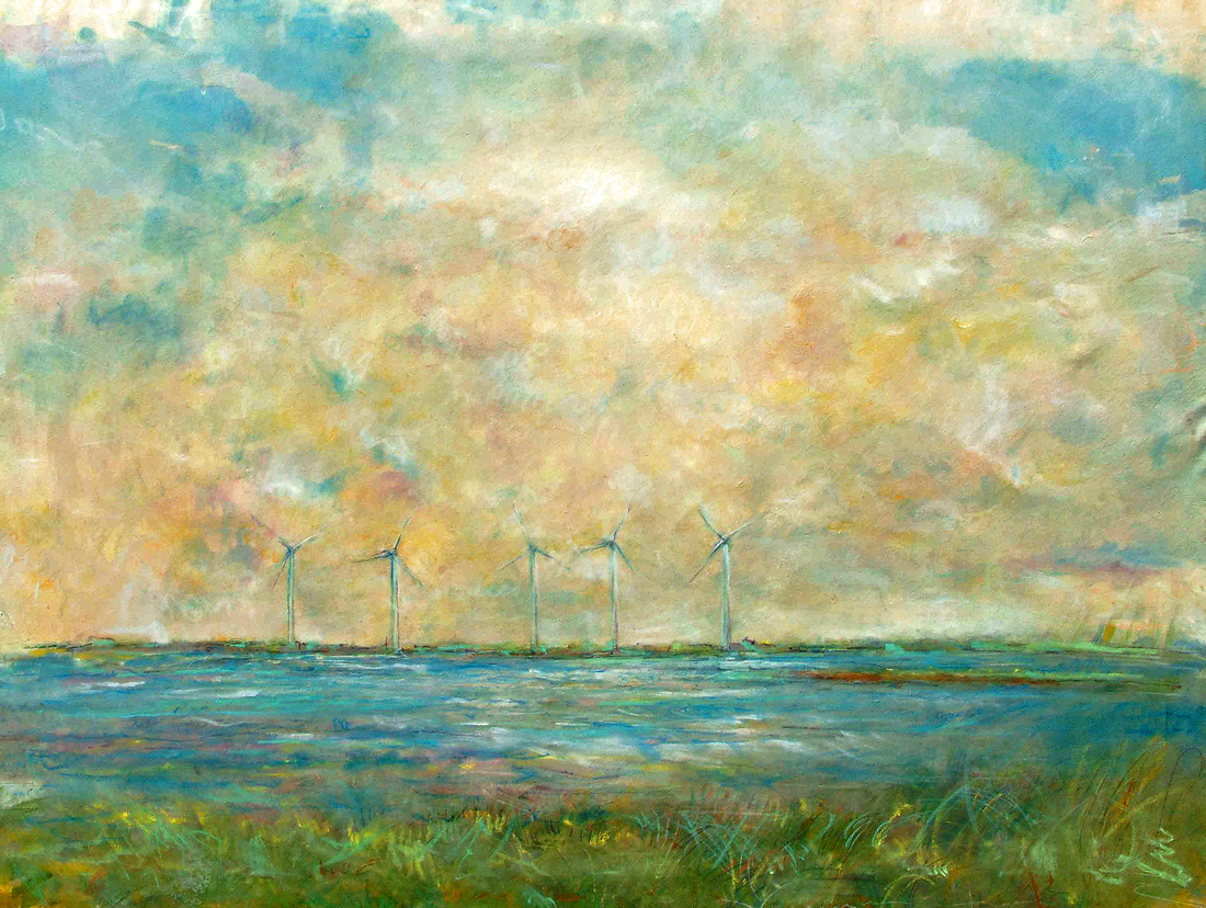 windfarm brigantine NJoriginal pastel watercolor $5,000