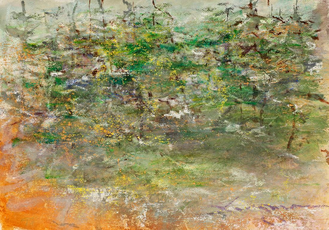 original pastel watercolor ,1,800 Summer Pines, Forrest