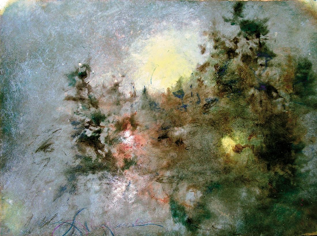 "winter moon original watercolor painting 22""30' catskill mountains"