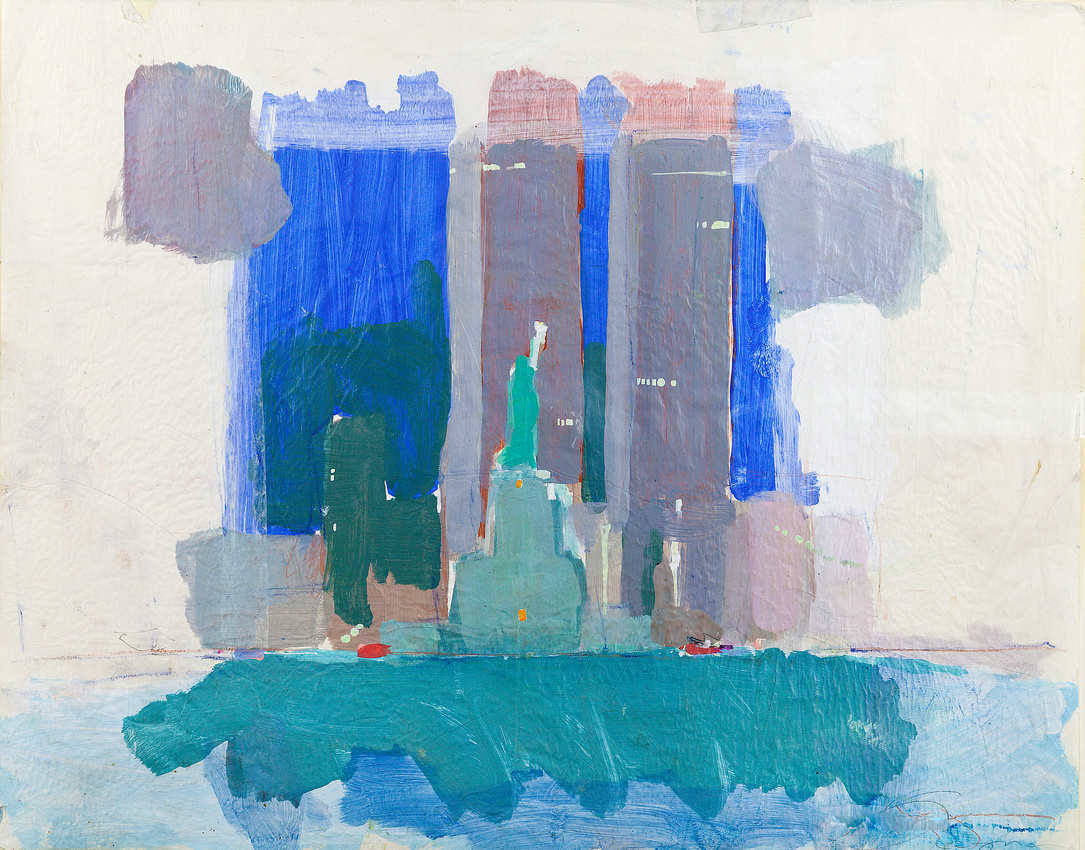 ny trade towers painted from world trade towerts this is part of a series of water based work painted on location