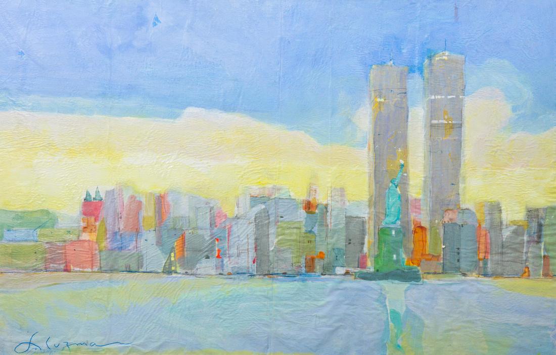 """NY NY  Trade Towers original watercolor painting 22""""36 ' $11,000"""