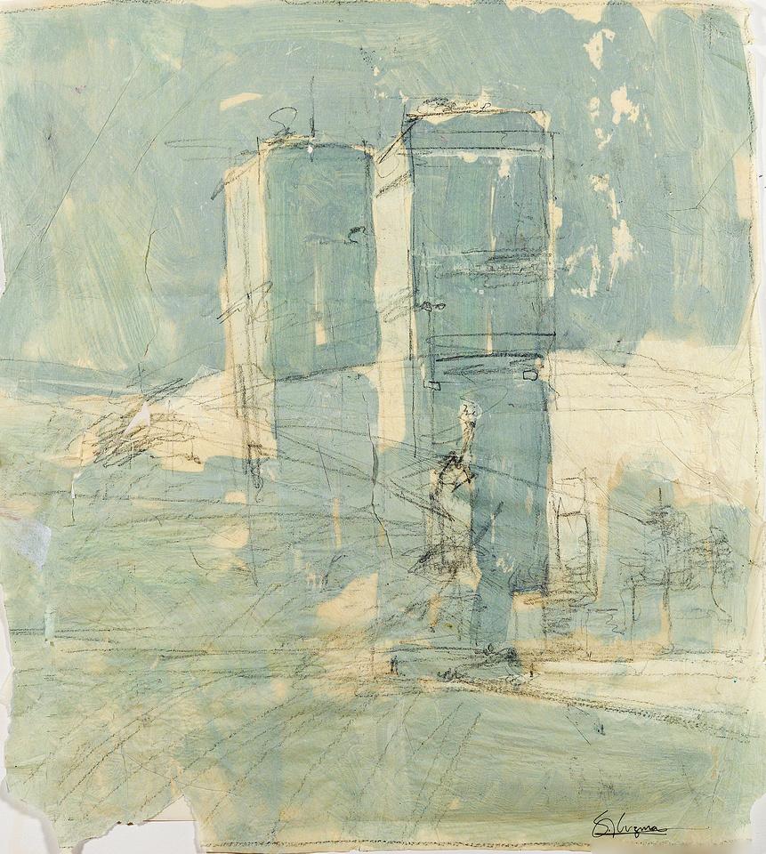 "ny trade towers original watercolor painting 22""30'"