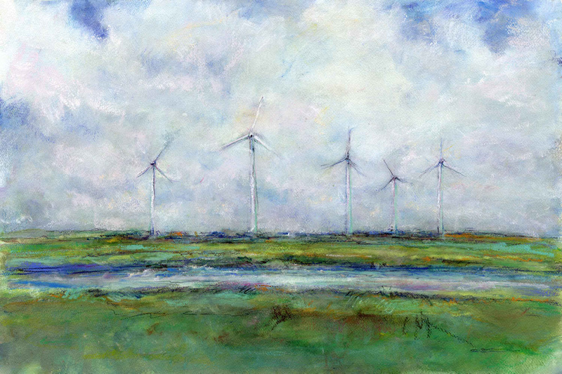 "Wind turbines AC original watercolor painting 22""30'"