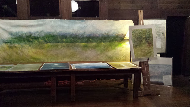vista 20' x 6' panoramastory about long panoramaspainted on location in the Adirondack mountains the 24' one over a 8 year period on lodge rd during a number of painting trips.it was unfurled an after